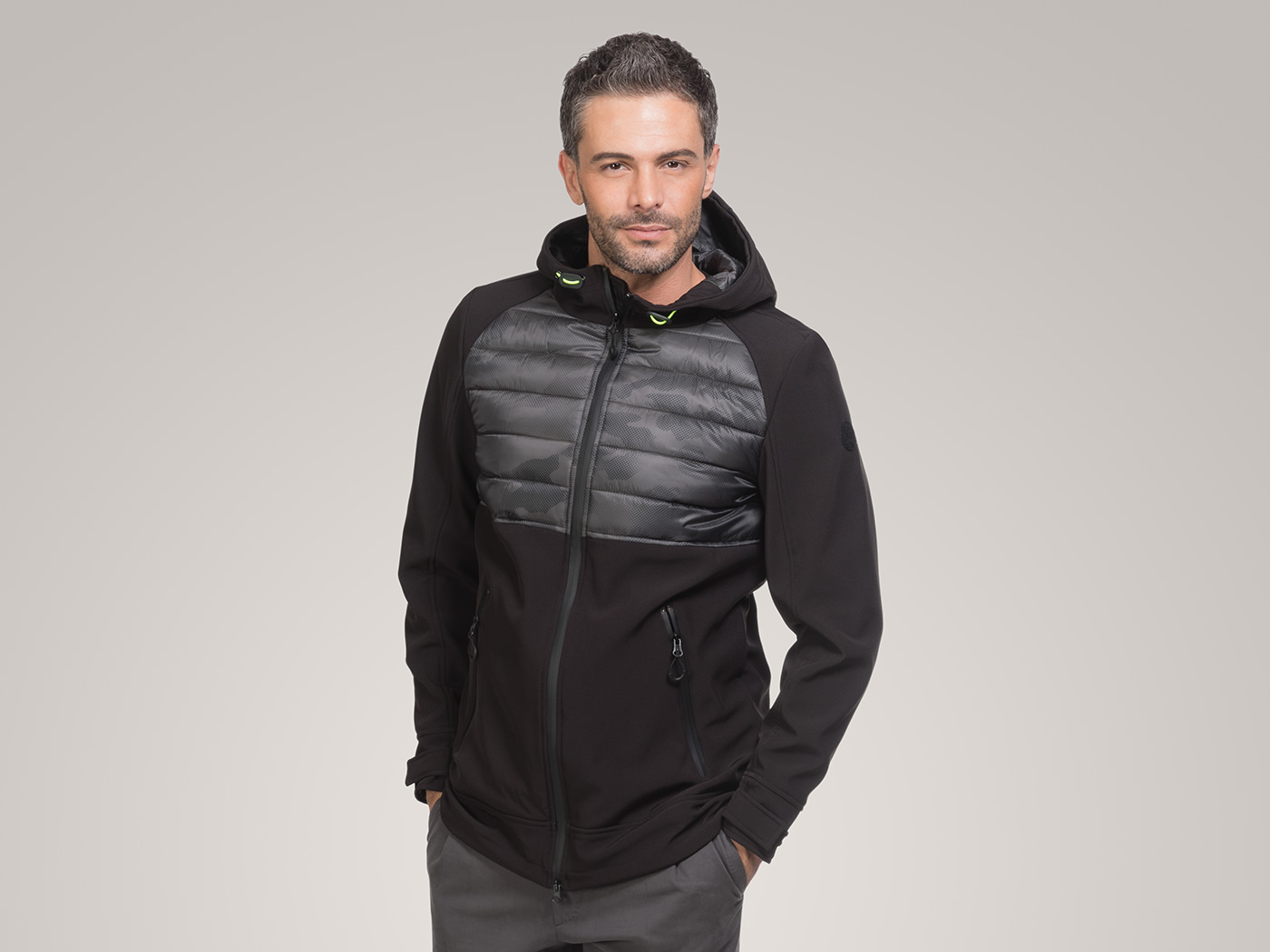 Padded Jacket in printed soft shell fabric