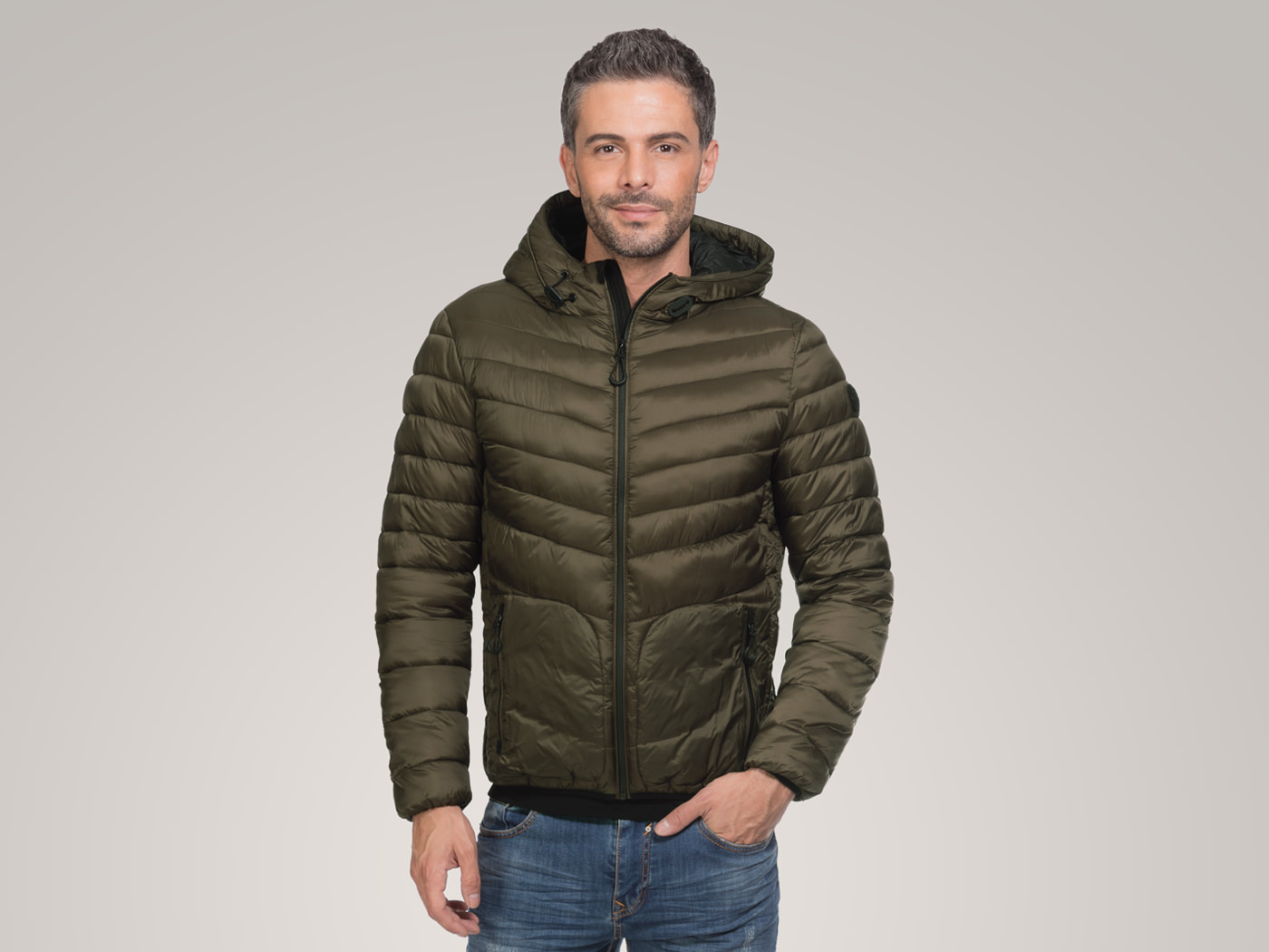 Padded Jacket in soft nylon fabric with hood