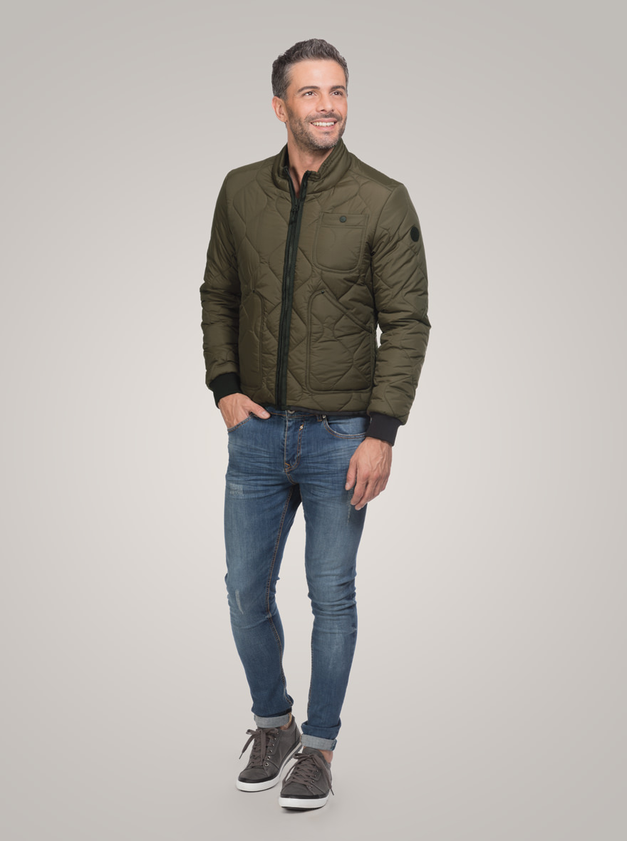 Diamonds Quilted Jacket in nylon soft touch