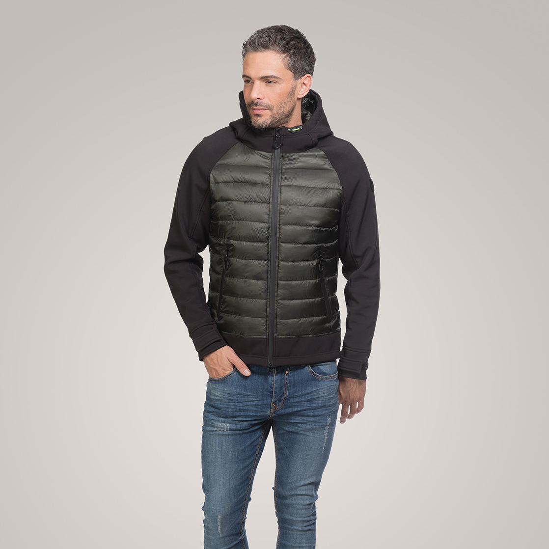 Padded Jacket in soft shell fabric and printed camouflage