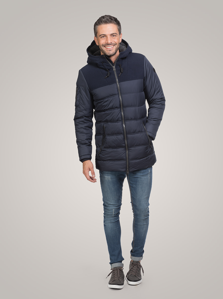 Padded jacket in nylon and soft fur fabric
