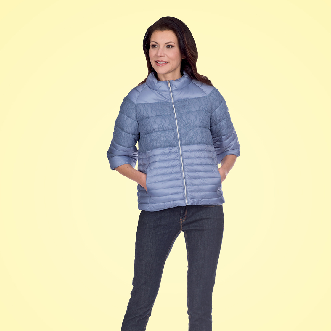 Lightweight padded jacket with lace